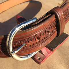 "42"" Leather Holster Belt Wide Serpentine Tooling"