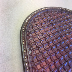 Leather Whiskey Coaster... Wine Coaster... Saddle Leather... Handtooled with a Wafflestamp Pattern... Handstitched.
