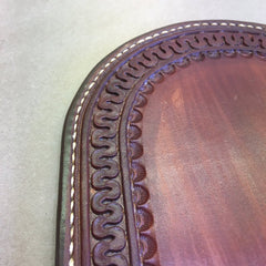 Leather Whiskey Coaster... Wine Coaster... Saddle Leather... Handtooled with a Serpentine Border Pattern.. Handstitched.