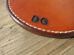 "6"" Round Leather Hot Pad. Two Thicknesses Of Saddle Leather, Hand-Tooled, Hand-Stitched."