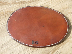 "8""X10"" Oval Leather Hot Pad. Two Thicknesses Of Saddle Leather, Hand-Tooled, Hand-Stitched."