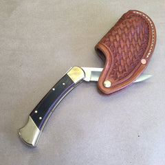 """One-Hander"" Knife Sheath... Vertical Carry...One Hand Opening... For The Buck 110 Folding Hunter Knife."