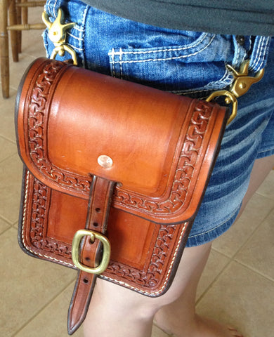Snap On Custom Leather Concert / Horsemans Purse with Optional Shoulder Strap