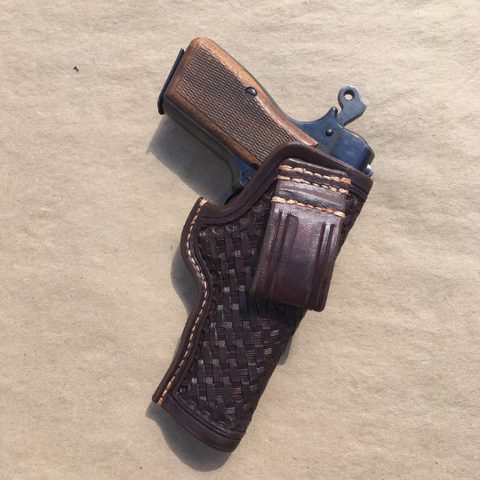 Browning Hi-Power IWB Leather Holster Basketweave Tooling RH Carry