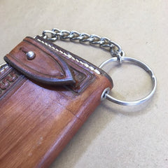 Chain Wallet Made From Saddle Leather - Hand-Tooled Serpentine Border