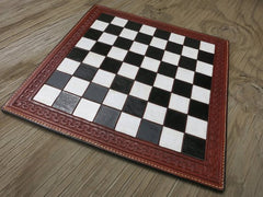 Leather Chessboard With Hand-painted Squares