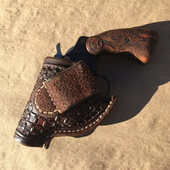 "Custom Leather Holster for Colt Detective Special 2"" OWB Wafflestamp Tooling"