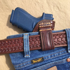 Custom Leather Holster for Glock 19/23/32 IWB Serpentine Border Tooling