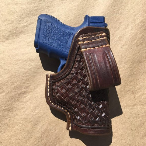 Custom Leather Holster for Glock 26 IWB Basketweave tooling