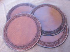 "Custom Leather Charger Plates (Placemats). Set of 4. 13"" Round. Hand-Tooled And Hand-Stitched."