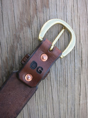 "Hand-Tooled Leather Hunting Belt Made From Thick Saddle Leather With Solid Brass Buckle. Size 39, 2"" Wide."