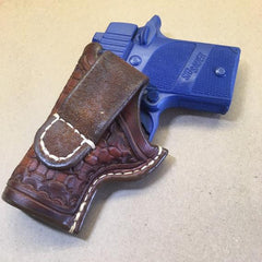Sig Sauer P938 OWB Leather Holster with Wafflestamp Tooling