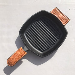 Leather Skillet Handle Covers Beavertail and Pincher Set Wafflestamp Tooling