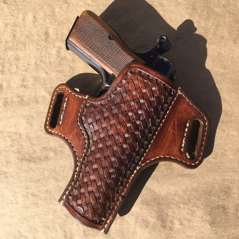 Leather Holster for Browning Hi-Power IWB Basketweave Tooling