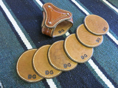 Leather Coaster Set With Holder (6 Coasters). Made From Saddle Leather, All Hand-Tooled And Hand-Stitched.