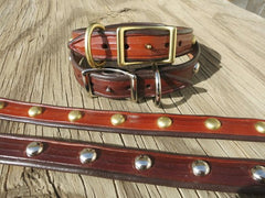 Hand-Made Leather Dog Collars With Spots