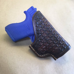 Glock 43 OWB Leather Holster Wafflestamp Tooling