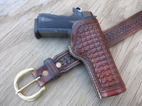 Custom Leather Holster/Belt Combo with Choice of Tooling