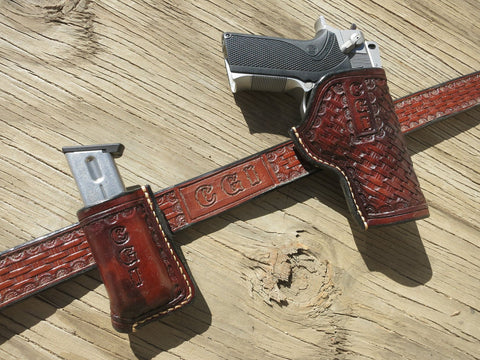 Custom Leather Holster, Belt, and 1 Mag Holder Combo