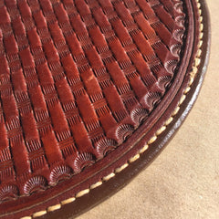 "Oval Leather Hot Pad... Trivet... 8"" X 8.5""... Saddle Leather... Handtooled... Handstitched."