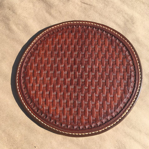 "6"" Leather Hot Pad... Trivet... Saddle Leather... Handtooled... Handstitched"