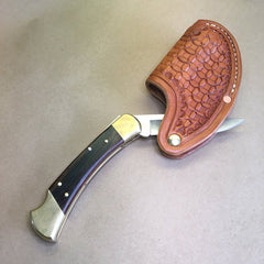 "The ""One-Hander"" Knife Sheath... One Hand Opening..Wafflestamp Tooling... Vertical Carry.... For The Buck 110 Folding Hunter Knife."