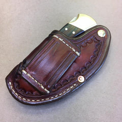 "The ""One-Hander"" Knife Sheath... One Hand Opening... Vertical Carry...Handtooled with a Sunburst Border Pattern.. For The Buck 110 Folding Hunter Knife"