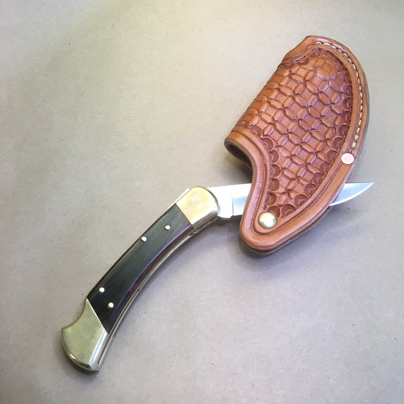 "The ""One-Hander"" Knife Sheath... One Hand Opening... Horizontal Carry...Wafflestamp Tooling... Natural Russet Dye,  For The Buck 110 Folding Hunter Knife"