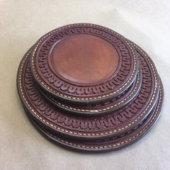 Leather Hot Pad/Trivet Set... Saddle Leather... Handtooled... Handstitched.