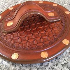 Leather Kickstand Pad For Soft Ground... Saddle Leather... Handtooled Wafflestamp Pattern