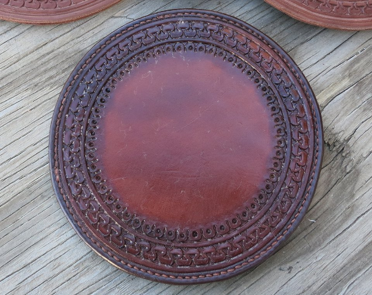 Leather Hand Tooled Lamp Coasters
