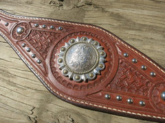 Ladies Concho Waist Belt With Nickel Spots And Fancy Nickel Buckle, Hand-Tooled And Hand-Stitched. Size 31-1/2""