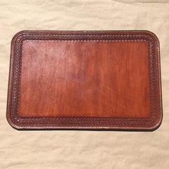 Leather Laptop Mat... Display Mat... Table Centerpiece... Dresser Top... Gun Mat... 12 X 18... Saddle Leather... Handtooled... Handstitched