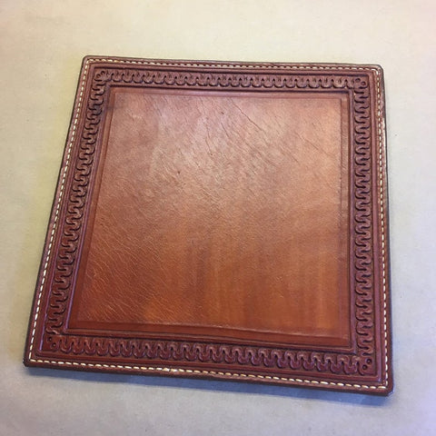 Leather Mouse Pad... Lamp Pad... Hot Pad... Display Mat... Dresser Top... 10 X 10... Saddle Leather... Handtooled... Handstitched.