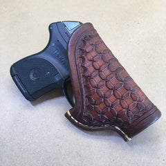 Ruger LCP OWB Leather Holster with Wafflestamp Tooling