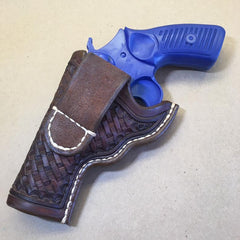 "Ruger SP101 3"" OWB Leather Holster, Basketweave Tooling….. Handmade"