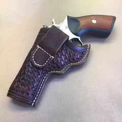 "Ruger GP100 4"" OWB Leather Holster….. Handmade From Saddle Leather Basketweave tooling"