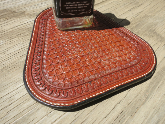 "Leather Whiskey Coaster Serpentine and Wafflestamp Pattern, 9""x 10"""