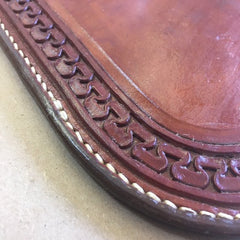 "Whiskey or Wine Coaster Hand-Tooled Carlos Border Pattern....9"" X 10"""