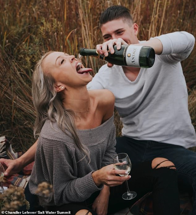 'I kind of over-adjusted': Groom-to-be accidentally pours champagne all over his fiancée's face and body in Pinterest-inspired engagement photoshoot fail