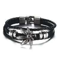Leaf  Black Leather Bracelet 8.5 inch  (For Him) - Happy Leaves
