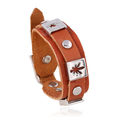 Leather Cuff Charm Bracelet - Happy Leaves