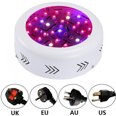 New Full Spectrum UFO 10W Double Chips AC85~265V 360W Red+Blue+warm white+white+IR+UV LED Grow Lights for Hydroponics Flowers