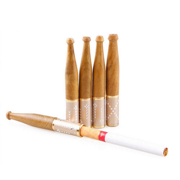 Natural Wood Filter Cigarette Holder - Happy Leaves