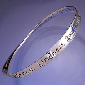 Sterling Silver Scripture Verse Mobius Bangle Bracelets by Laurel Elliott