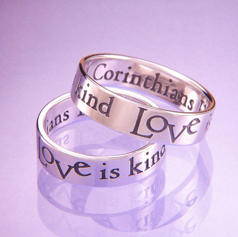 Love is Kind Sterling Silver Ring 1 Corinthians 13 Laurel Elliott