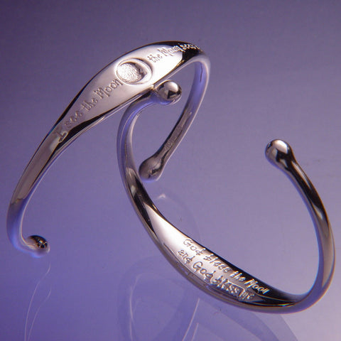 Sterling silver cuff bracelet I see the moon and the moon sees me, God Bless the moon and God bless me.