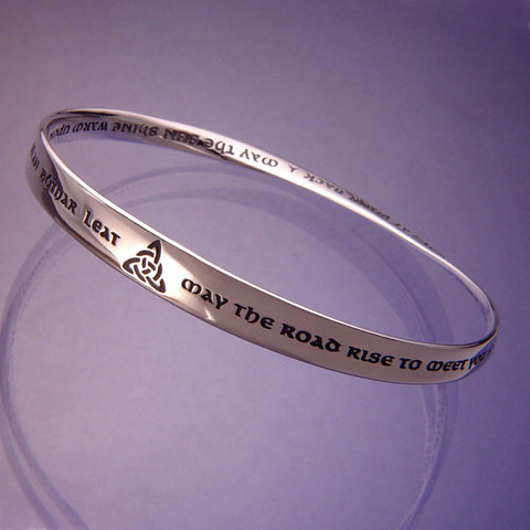 May the Road Rise to Meet You Mobius Bangle Bracelet Sterling Silver