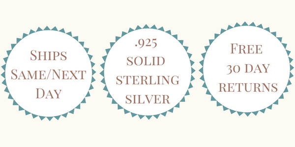 Ships Same or Next Day - .925 Solid Sterling Silver - Free 30 Day Returns