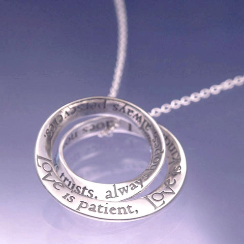 Love is Patient Sterling Silver Double Mobius Necklace